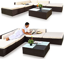 Lounge sofa set garden set, poly rattan, with
