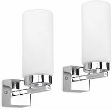 Lounge Wall Light Fittings 2X Chrome Frosted Glass