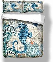 Loussiesd 3D Seahorse Print Duvet Cover Set Single