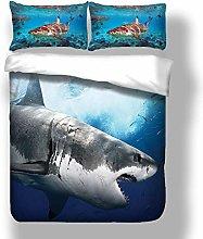 Loussiesd 3D Shark Print Duvet Cover Set Single