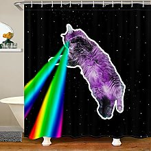 Loussiesd Cat Shower Curtain for Stalls Bathtubs
