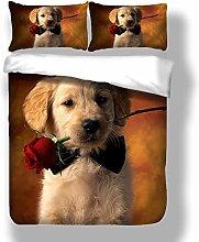 Loussiesd Double Duvet Cover Set Animal Dog 3D