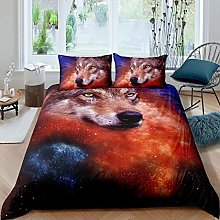 Loussiesd Double Duvet Cover Set Galaxy Wolf