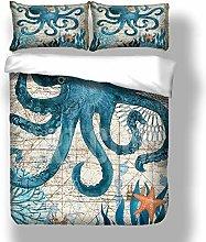 Loussiesd Double Duvet Cover Set Octopus Ocean
