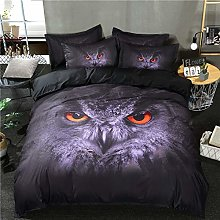 Loussiesd Double Duvet Cover Set Owl Vivid Animal