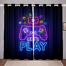 Loussiesd Gamer Curtains for Bedroom Living Room