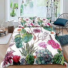 Loussiesd Girls Cactus Printed Duvet Cover Boho