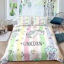 Loussiesd Girls Cartoon Unicorn Bedding Set for