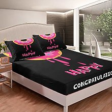 Loussiesd Girls Donuts Bedding Set for Kids