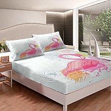 Loussiesd Girls Flamingo Bedding Set Girly Floral