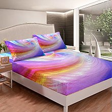 Loussiesd Girls Psychedelic Fitted Sheet Colorful