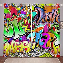 Loussiesd Hippie Graffiti Style Blackout Drapes