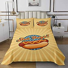 Loussiesd Hot Dog Quilted Coverlet Whimsical food