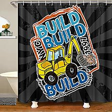 Loussiesd Kids Excavator Shower Curtain with Hooks