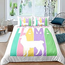 Loussiesd Kids Llama Bedding Set for Girls Boys