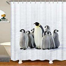 Loussiesd Kids Penguin Shower Curtain for Girls