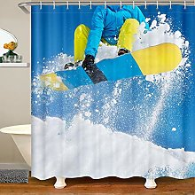 Loussiesd Kids Skiing Shower Curtain for Girls