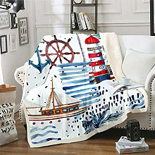 Loussiesd Nautical Decor Fleece Blanket for Chair