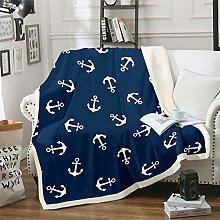 Loussiesd Nautical Fleece Throw Blanket Ocean