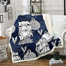 Loussiesd Nautical Theme Fleece Throw Blanket 3D