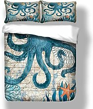 Loussiesd Octopus Duvet Cover King Size with 2
