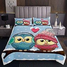 Loussiesd Owl Bedspread Cute Animal Coverlet Set