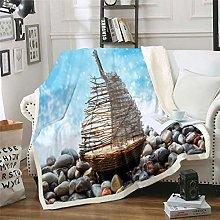 Loussiesd Sailboat Printed Sherpa Blanket Ocean