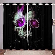 Loussiesd Skull Pattern Curtain for Girls Boys