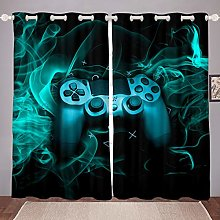 Loussiesd Teal Gaming Curtain for Boys Bedroom