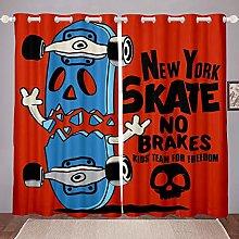 Loussiesd Teens Skateboard Curtains Hipster Decor