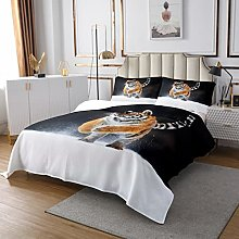 Loussiesd Tiger Quilted Bedspread Wild Animal