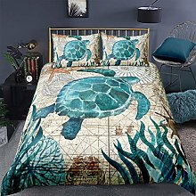 Loussiesd Turtle Duvet Cover Set King with 2
