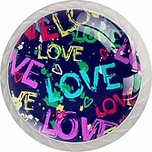 Love and Hearts 4PCS Drawer Knobs,Cabinet