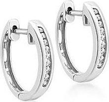 Love Diamond 9Ct White Gold Diamond Set Hoop