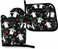 LOVE GIRL Merry Penguins (Black) Oven Mitts and