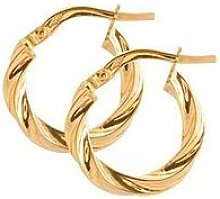 Love Gold 9Ct Gold 15Mm Round Twisted Hoop Earrings