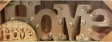 Love/Home Wooden/Metal LED Word Light Up Plaque