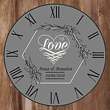 Love / Wedding Anniversary Clock - Size 30cm Wall