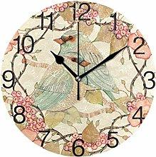Lovebird with Flower Round Wall Clock, Silent