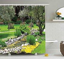 lovedomi Garden Shower Curtain Japanese Park Style