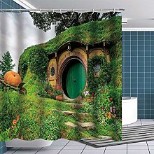lovedomi Hobbit Shower Curtain Fantasy Rural Green