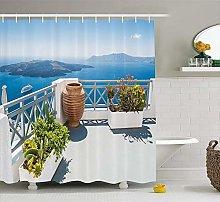 lovedomi Landscape Shower Curtain Santorini Greece