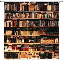 lovedomi Magic school library shower curtain retro