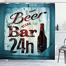 lovedomi Retro Shower Curtain Grunge Beer Bar 24h