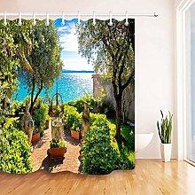 lovedomi Scenic shower curtain Sunny seaside