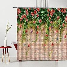 lovedomi Shower Curtain Flower Leaves Vine Stone