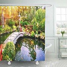 lovedomi Shower Curtain Green Fish Japanese Garden