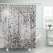 lovedomi Shower Curtain Pattern Black Disco Silver