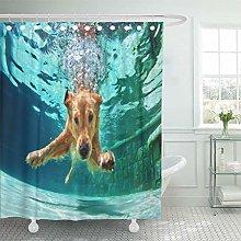 lovedomi Shower Curtain Underwater Funny of Golden