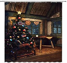 lovedomi Vintage Cottage Decor Shower Curtain Christmas Tree with Colorful Ornaments Carousel Winter Holiday Festive Celebration 72x72 inch Waterproof Polyester Fabric